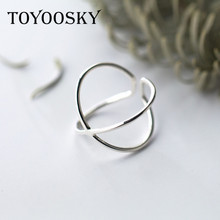 TOYOOSKY 925 Sterling Silver Double Line Opening Rings Elegant Cross Ring Jewelry for Anniversary Adjustable(China)