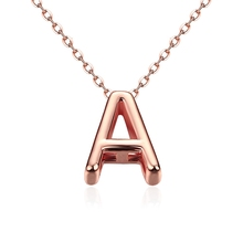 Fashion Letter Necklaces Pendants Alfabet Initial Necklace 24K Rose Gold Stainless Steel Choker Necklace Women Jewelry Kolye Col(China)