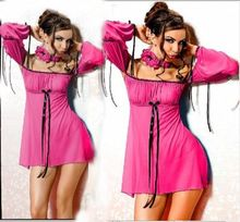 Sexy Lingerie Long sleeve Shipping Within One Day Lingerie Nighty Chemise Babydoll Dress Plus Size 6 8 10 12 14 16 18 B9011(China)
