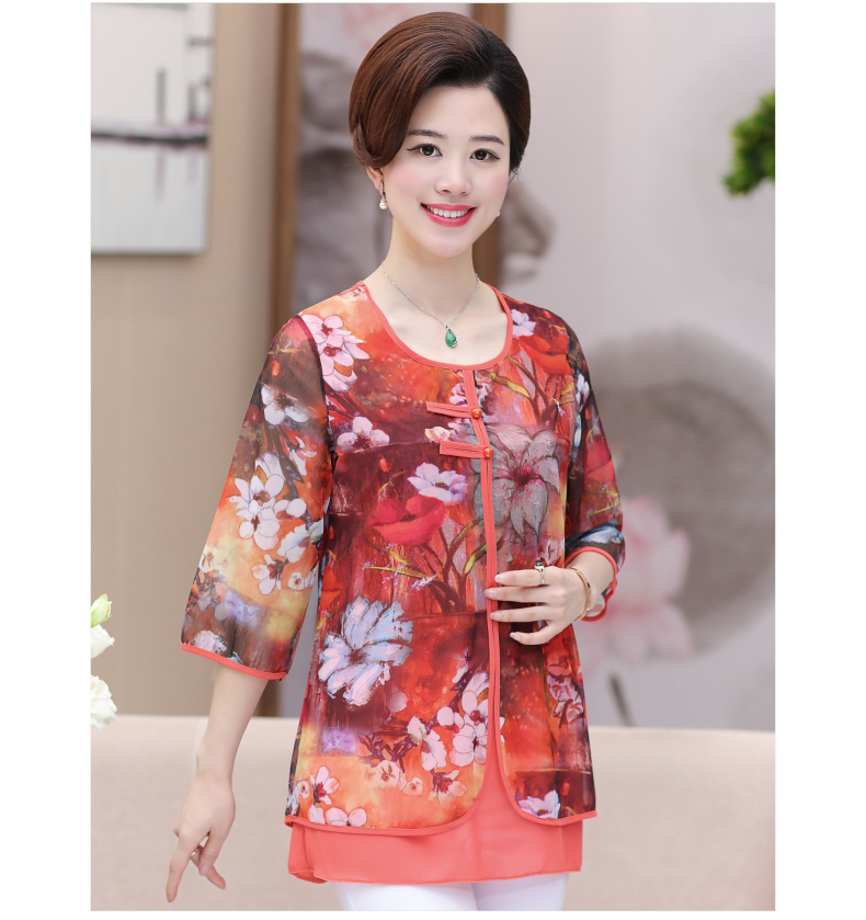 WAEOLSA Chinese Style Woman Ethnical Chiffon Blouses Gray Blue Red Green Flower Layered Tops Women Oriental Boon Design Blouse Lady Crepe Tunic (12)