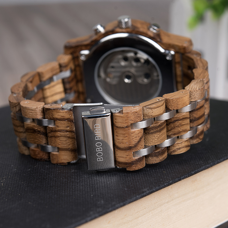 BOBO BIRD Automatic Mechanical Watches Men Wooden Luxury Watch with Calendar Display Multifuctions relogios automaticos mecanic 8