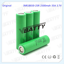 Best quality high discharging rate lithium battery for samsung 25r battery 18650 25r 2500 mAh li-ion battery cell for e cig(1pc)(China)