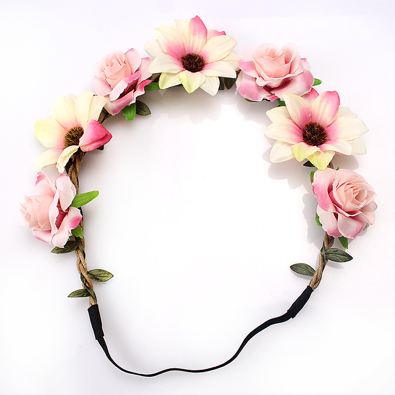 M MISM Sale Fashion Women Bride Flowers Headband Bohemian Style Rose Flower Crown Hairband Ladies Elastic Beach Hair Accessories(China)
