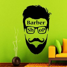 New Arrival Barber Shop Sign Man Face Mural Barber Shop Hipster Vinyl Wall Decal Creative Art Wall Sticker Hair Shop Decoration(China)