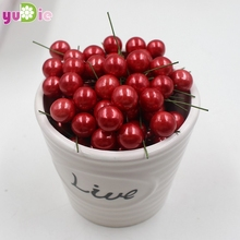 40pcs/lot Mini Fake Plastic Fruit Small Berries Artificial Flower red cherry Stamen Pearlized Wedding Christmas Decorative