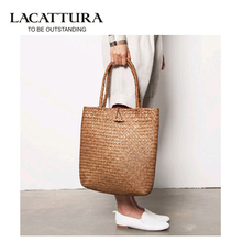 LACATTURA Beach Bag for Summer Big Straw Bags Handmade Woven Tote Women Travel Handbags Designer Vintage Shopping Hand Bags