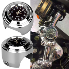 "Motorcycle Clock Waterproof 7/8"" 1"" Chrome Handlebar Mount Quartz Watch for Harley Davidson Honda Yamaha Suzuki Kawasaki 1pcs"
