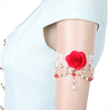 Fashion White Lace Big Red Rose Flower Pearl Lace Arm Bracelet For Wedding Z17T13