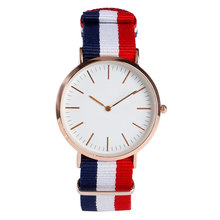 Fashion Rose Golden Case D Quartz Watches with Nylon Band W No Second Hand Wristwatch for Women Men Christmas Birthday Gift(China)