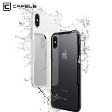 CAFELE Back Tempered Glass Case For iPhone X 10 Full coverage HD Clear Full Body Cover Tempered Glass cases For iPhone X 10(China)
