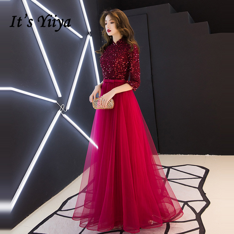 It's YiiYa Evening Dress Wine Red Half Sleeve Shining Long evening dresses Elegant O-neck Zipper Formal Dress  E101(China)