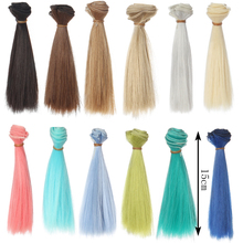 1pcs 15cm*100cm Naturally straight hair for doll BJD/SD doll DIY High-temperature Doll Wigs(China)