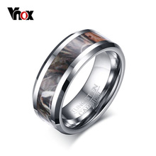 Vnox Camo Trees Leaves Tungsten Carbide Ring Camouflage Hunting Men Ring High Polished Comfort Fit(China)