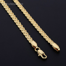 Davieslee 4mm Flat Wheat Snail White Yellow Rose Gold Filled Chain Mens Womens Necklace Fahsion Jewelry DLGN424-DLGN426