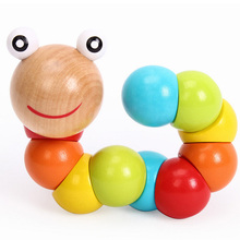 Baby Novelty Toys Insects Puzzle Wooden Twist Caterpillars Toys For Kids Educational Fingers Flexible Training children gift(China)