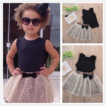 New Arrival Baby Girls Summer Clothes Sets Slim Black Vest + Lace Leopard Skirts Elegant Lovely Sets For Child(China)