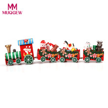 2017 New 4 Pieces/set Wooden Mini Christmas Train toy Gift for Children kids Diecasts & Toy Vehicles baby Xmas educational toys(China)
