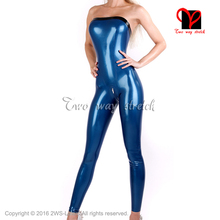 Buy Sexy Latex Catsuit Crotch Zipper Black Trims Top Rubber bodystocking bodysuit Jumpsuit Strapless zentai body suit LT-093