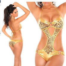 Golden Leopard Striped Bikini Swimwear Women's Europe And The United States Swimsuit New Nylon One Piece S M L 4 Colors Hot