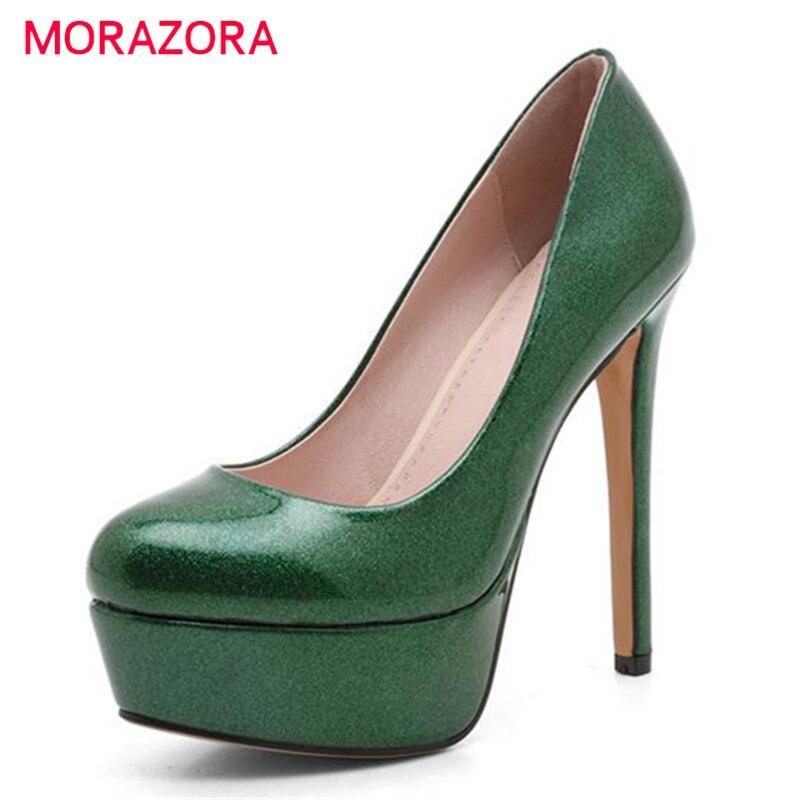 MORAZORA Fashion sexy wedding bride shoes women pumps platform shoes big size 34-43 shallow single shoes thin high heels PU<br>