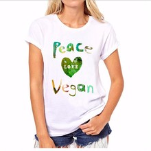 2017 New Summer Women Tops Casual O-neck Short Sleeve Peace Love Vegan T Shirt Asian Size Women Clothing Hot Sale(China)