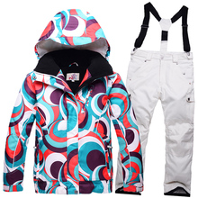 New Children skiing Clothing Girl or Boy ski suit sets skiing snowboard costume windproof therma ski outdoor jacket + bib pant