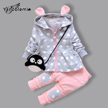 Hoodie For Girls Clothes Sets Dots Coat+Pants Zipper Baby Christmas Outfits Toddler Penguin Cartoon Sweatshirt Girl Hoody Suit