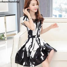 2017 New Korean Lady Dress Big Size S To 4XL O-Neck Printing Short Sleeve Mesh Stitching Black Mix White Color Lady Hollow Dress