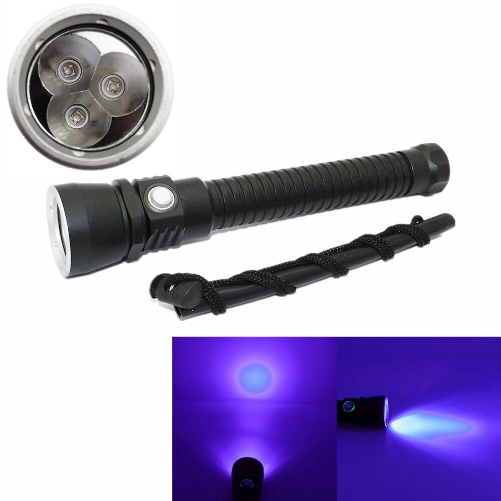 New Underwater 100M Waterproof 3x Purple UV LED Light Lamp Scuba Diving Flashlight Torch Aluminum Dive Light Use 18650 Battery<br>