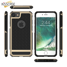 KISSCASE For iPhone 6 6s 5 5s SE 7 Luxury Gold Case Metal PC Frame Grid Pattern Back Cover For iPhone 6 6 Plus 7 5s 5 SE Coque(China)