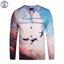 2017 Mr.1991INC New Stylish Men's Shirts 3d Print Letters Fuck This World Long Sleeve Hip Hop Blouse Button Tees Shirts