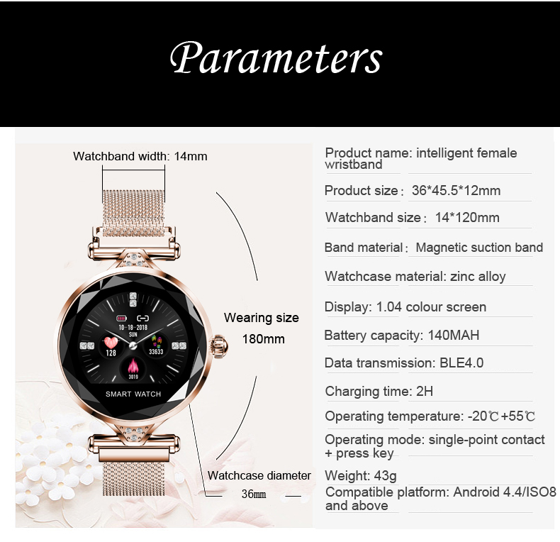 H1 Women Fashion Smartwatch Wearable Device Bluetooth Pedometer Heart Rate Monitor Smart Watch For AndroidIOS Smart Bracelet (14)
