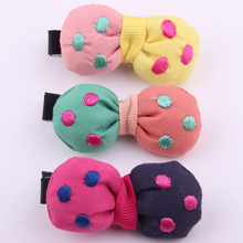 2017 Korean style fabrics hair accessories for girls cute dot embroidered bow hair barrettes bicolors bowknots hair clips