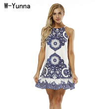 Buy W-Yunna 2018 New Women Beach Dress Retro Floral Print Harajuku Women Dress Sleeveless Halter Midi Dress Sexy Causal Party dress