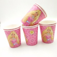 10pcs/set Barbie Cup Cartoon Theme Party For Children/Girls Happy Birthday Decoration Theme Party Supply Festival