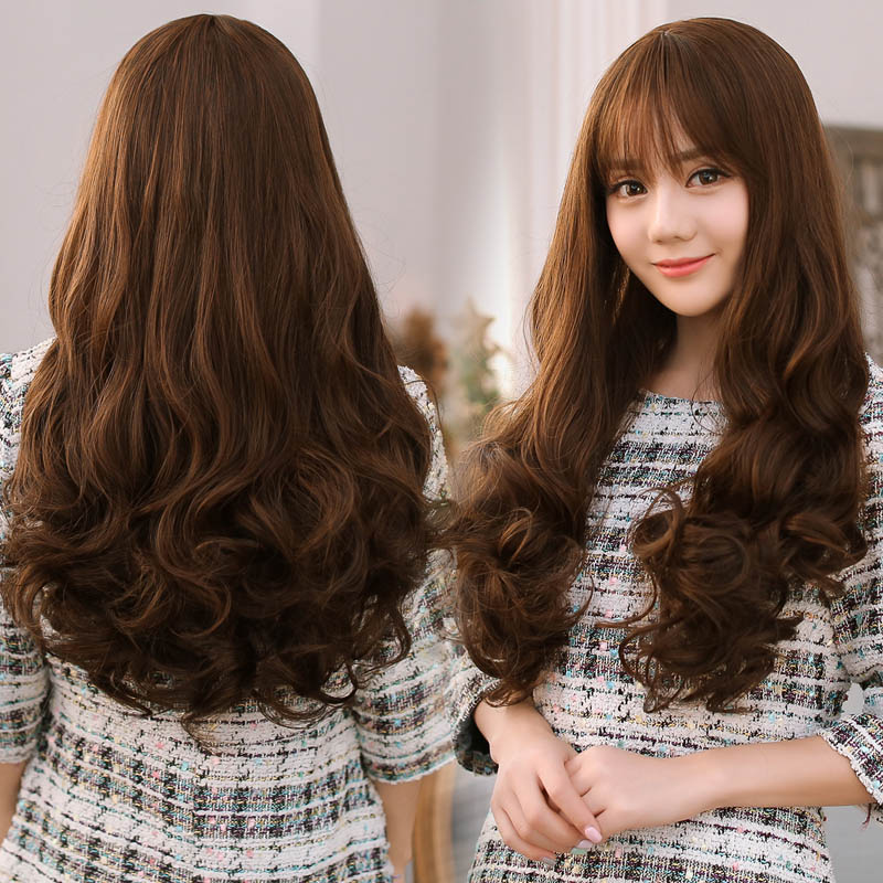 26inchSynthetic Wigs For Women Long Curly Hair Full Wigs With Side Bangs Cheap Heat Resistant Hair Wig Synthetic Fake Hair<br><br>Aliexpress