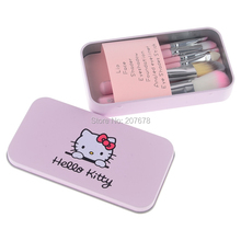 Hot Hello Kitty 7 Pcs Mini Makeup brush Set cosmetics kit de pinceis de maquiagem make up brush Kit with Metal box(China)