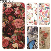 New Rose Peony Rhododendron Butterfly Transparent hard plastic Case For Apple iphone X 8 8P 4 4s 5 5s SE 5c 6 6S 6PLUS 7 7PLUS(China)