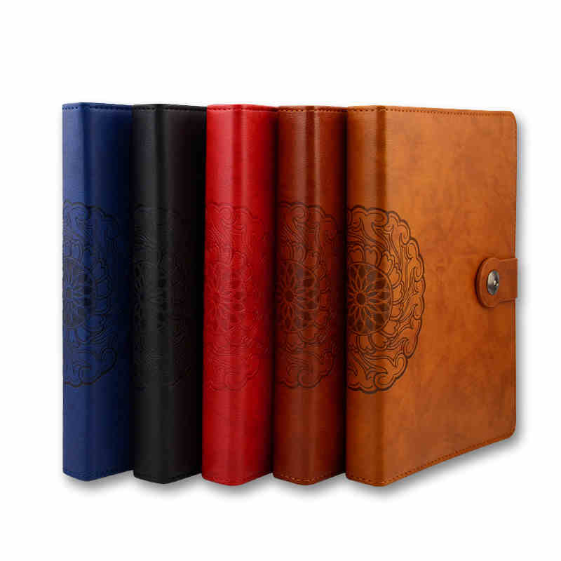 RuiZe vintage notebook organizer planner B5 big leather spiral notebook office stationery 9 ring binder loose leaf note book<br>