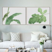 Modern Watercolor Green Leaf Plant Poster Print Floral Wall Art Picture Nordic Hipster Rural Home Decor Flower Painting No Frame