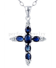 Sapphire necklace pendant Natural real sapphire 925 sterling silver Cross style pendant 0.35ct*4pcs,1ct*1pc gems #15042406(China)