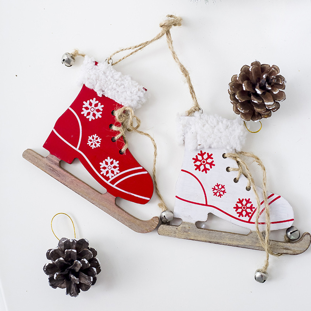 Wooden Crafts Creative Sleigh Boots Pendant Christmas Tree Festival Home Party Decorations Children New Year Gifts Elegant Appearance Diamond