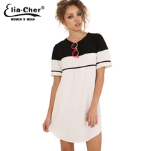 Keyhole Back Striped Shift Summer Dress 2016 Causal Plus Women Clothing Chic Elegant Fashion Active White Black Female Dresses(China)