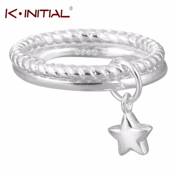1Pcs New Design 925 Sterling Silver Stars Pendant Double Rings Women Lovely Girls Christmas Gift Statement Jewelry Adjustable