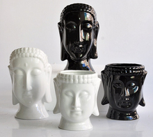 Porcelain flower pots planters flower vases home decor buddha head vases modern tabletop pots candle holder stand
