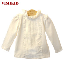VIMIKID Baby Clothing 2017 New Stand Collar British Style Lace White Long Sleeve Cotton Baby Blouses Toddler Clothes Children(China)