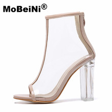 MoBeiNi Sexy Kim Kardashian Sandal Women Style PVC Clear Transparent  High Heel Sandals Plus Size Stilettos Women Shoes Bare