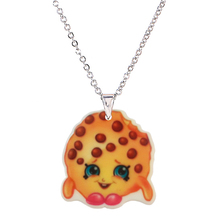 Fashion Acrylic Cartoon Chocolate Cookies Pendant Necklace for Girls Children Kawaii Biscuit Silver Chain  Necklaces & Pendants