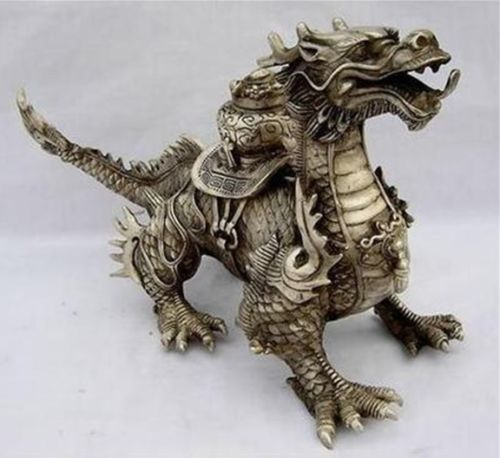 Huge-Tibetan-Silver-luck-Dragon-Statue