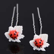 20Pcs/Lot Cute Ladybug Shape Hairpins Clip Women Bridal Bridesmaid Wedding HairbandDecoration Hair Jewelry Accessories(China)